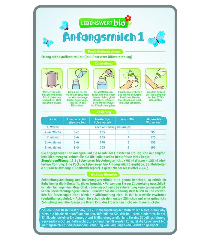 Lebenswert Stage 1 Organic Infant Starter Milk Bio Formula